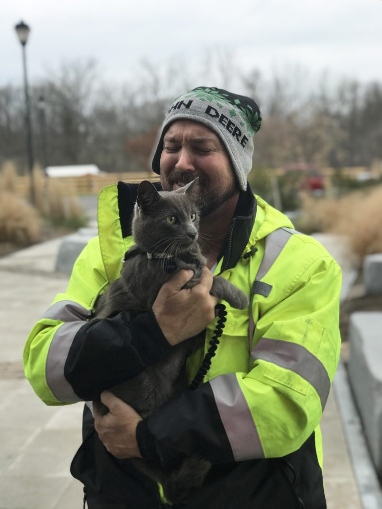 Trucker bursts into tears when he finds his cat after months of searching