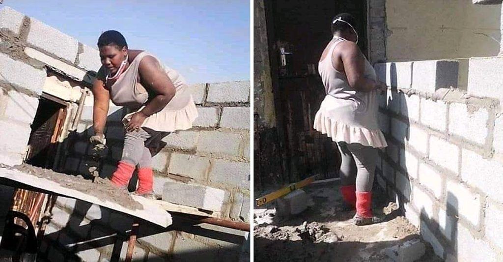 This ingenious South African builds her house with her own hands and doesn't need help