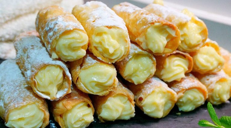 Recipe of delicious cigars with custard, sugar-free, milk-free, gluten-free and crazy for foodies